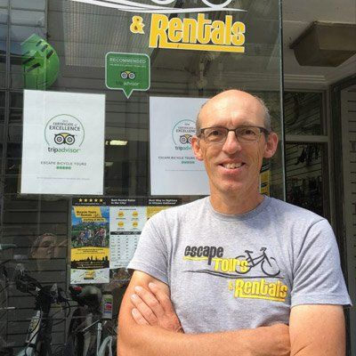 Hans Moor, an experienced, local, fun and knowledgeable tour guides at Escape Bicycle Tours and Rentals lead Ottawa bike tours