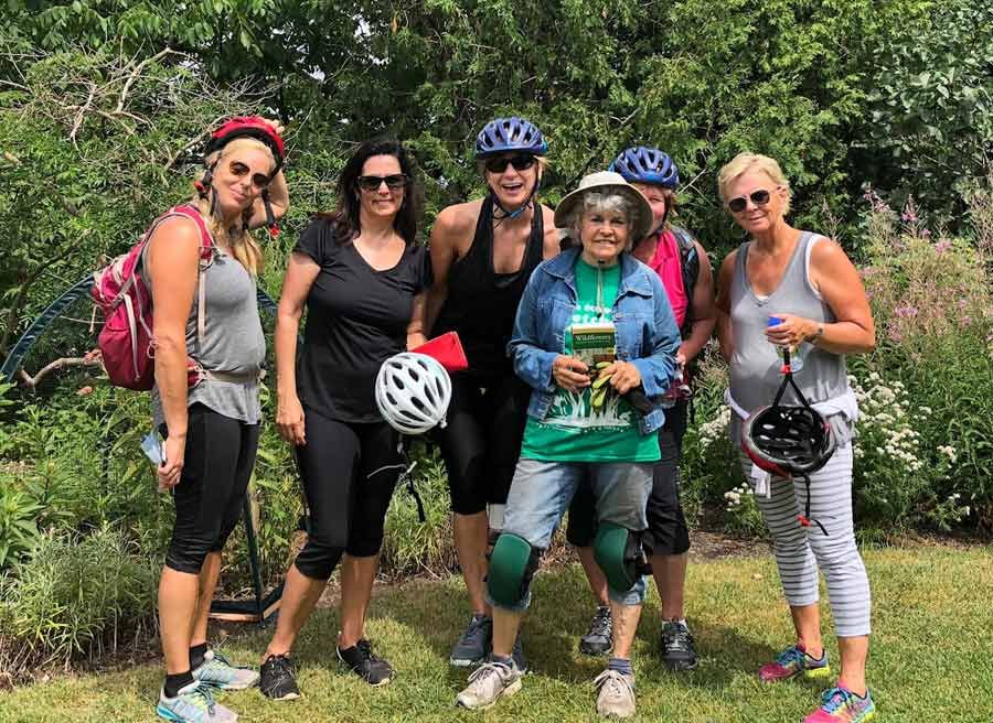 Friends visit Fletcher wildlife garden during a private best of Ottawa bike tour of Ottawa to celebrate a birthday with Escape Tours and Rentals